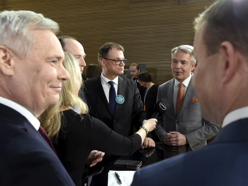 Antti Rinne (left), the chairperson of the Social Democrats, will sit down with some of his fellow party leaders to form the next government on 25 April 2019. Also pictured, from left to right, are Jussi Halla-aho of the Finns Party, Juha Sipilä of the Centre, Pekka Haavisto of the Greens and Petteri Orpo of the National Coalition. (Markku Ulander – Lehtikuva)