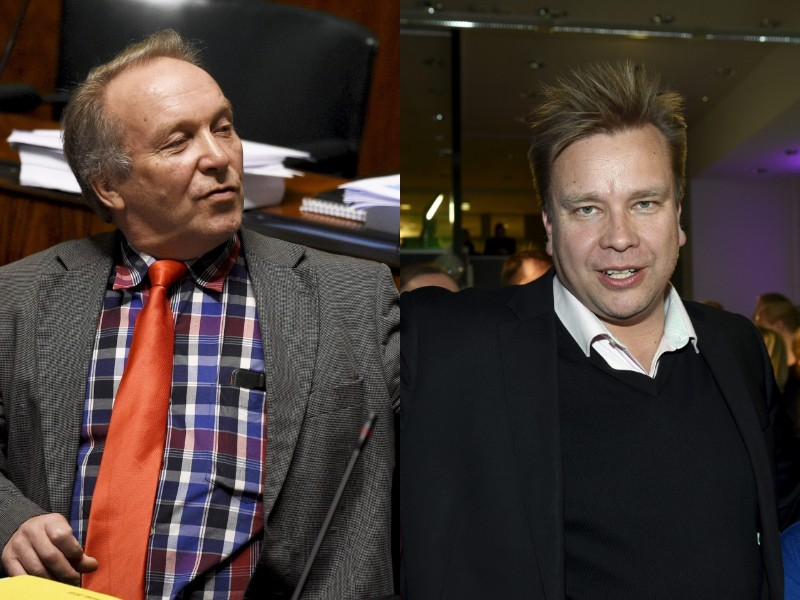 Teuvo Hakkarainen of the Finns Party (left) has been found guilty of assault and ethnic agitation; Antti Kaikkonen of the Centre (right) of misuse of a position of trust. (Images: Heikki Saukkomaa, Martti Kainulainen – Lehtikuva)