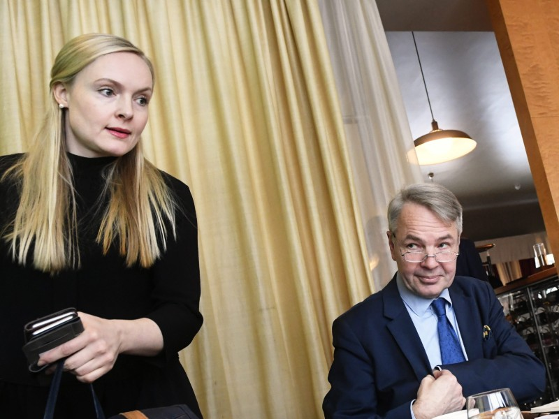 Maria Ohisalo and Pekka Haavisto of the Green League shed light on the opposition party's vision for the social security system of Finland in a presser in Helsinki on Thursday, 7 February 2019. (Credit: Vesa Moilanen – Lehtikuva)