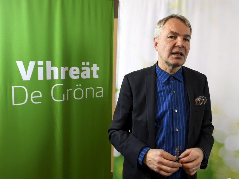 Pekka Haavisto, the chairperson of the Green League, discussed the opposition party's programme for the next parliamentary elections in a press conference in Helsinki on Sunday, 17 February. (Credit: Vesa Moilanen – Lehtikuva)