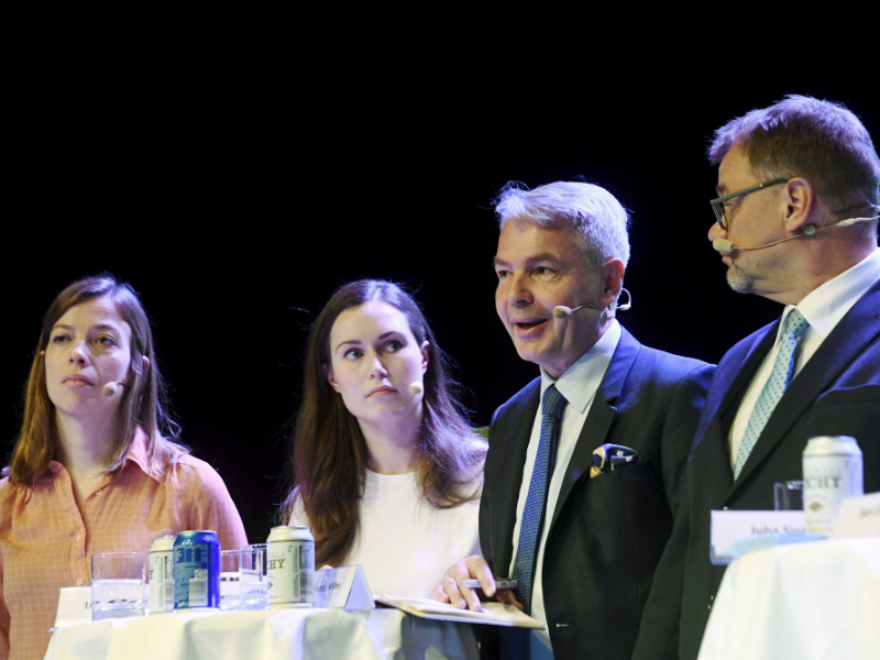 Li Andersson (Left Alliance), Sanna Marin (SDP), Pekka Haavisto (Greens) and Juha Sipilä (Centre) took part in a climate debate hosted in Helsinki on Wednesday by Maaseudun Tulevaisuus. (Credit: Markku Ulander – Lehtikuva)