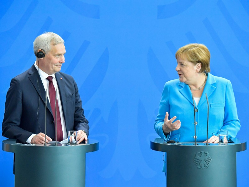 Finnish Prime Minister Antti Rinne (SDP) and German Chancellor Angela Merkel held a joint press conference after their meeting in Berlin, Germany, on 10 July 2019. (Tobias Schwarz).