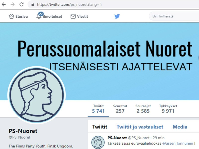The Twitter profile of the Finns Party Youth on 24 May 2019. (Lehtikuva)