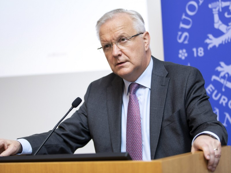 Olli Rehn, the governor of the Bank of Finland, talked about the central bank's growth forecast for 2019–2021 in a press conference in Helsinki on Tuesday, 11 June 2019. (Anni Reenpää – Lehtikuva)