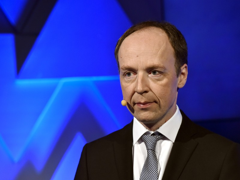 Jussi Halla-aho, the chairperson of the Finns Party, discussed EU policy in a debate event held by YLE on Monday, 20 May. (Emmi Korhonen – Lehtikuva)