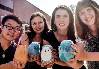 Sang-Hyun Ryu (left), Emmi Pouta, Lisa Gerkens and Hanna Markgren have developed soft night-lights to help children overcome the fear of darkness.