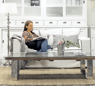 """Relax"" -sofa 1,699€ and glass cabinet 3,098€."