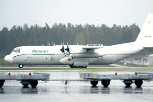 A suspect Hercules plane belonging to Prescott Support pictured at Helsinki-Vantaa airport on 16 May, 2003. Prescott Support is believed to co-operate with the CIA in prison transfer flights.
