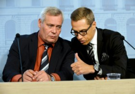 Minister of Finance Antti Rinne (SDP) and Prime Minister Alexander Stubb (NCP) commented on the outcome of the budget session in a press conference at the Government Palace in Helsinki on 28 August.