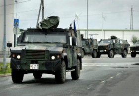 German military vehicles arrived at the West Harbour in Turku on Wednesday to participate in an international military exercise scheduled to take place this weekend.