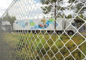 Lorries transporting lactose-free Valio products waited on the enclosed premises of Evira on the border zone between Finland and Russia on Thursday.