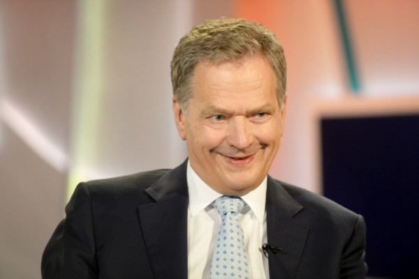 President Sauli Niinistö was pictured at the set of Ykkösaamu, a morning show on YLE TV1, on 28 May, 2016.