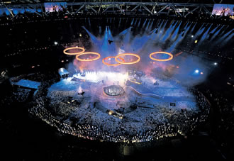 The Olympic rings are pictured above the stadium during the opening ceremony of the London 2012 Olympic Game, but isn't 34 million euros a lot of money for the opening ceremony.