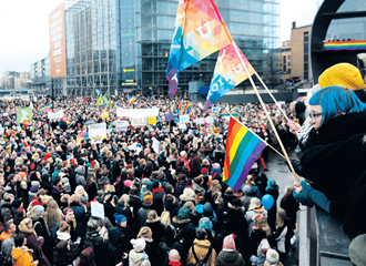 The supporters of same-sex marriage gathered outside the Finnish Parliament in Helsinki on 28 November.