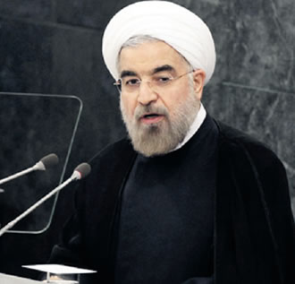 President Rouhani speaking at the general assembly of the United Nations.
