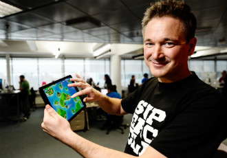 Ilkka Paananen, the CEO at Supercell, showed off the game studio's new game, Boom Beach, in February.