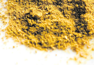 Curry spice commonly contains turmeric, coriander seeds and cumin.
