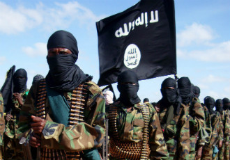 Al-Shabab fighters pictured in Elasha Biyaha, Somalia, in February 2012.