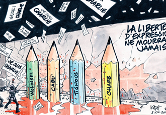 The attack at the Charlie Hebdo office has led to discussion on freedom of expression particularly regarding cartoons that are found offensive, which Mika Illman says do not fall under the hate crime category in Finland. This cartoon was made in response to the attacks, and says