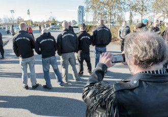 Members of Soldiers of Odin, a vigilante patrol based in Joensuu, posed for a picture during an anti-immigration protest in Tornio on 3 October.