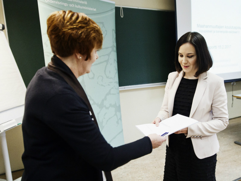 Minister of Education and Culture Sanni Grahn-Laasonen (NCP) was on 15 February, 2017, presented with a report detailing over 40 measures to promote educational attainment among the growing immigrant population of Finland.