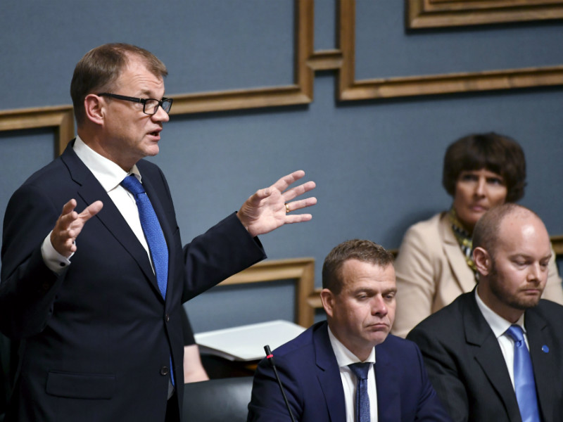Prime Minister Juha Sipilä (Centre) had the floor during a plenary session in the Finnish Parliament on Thursday, 7 September, 2017.