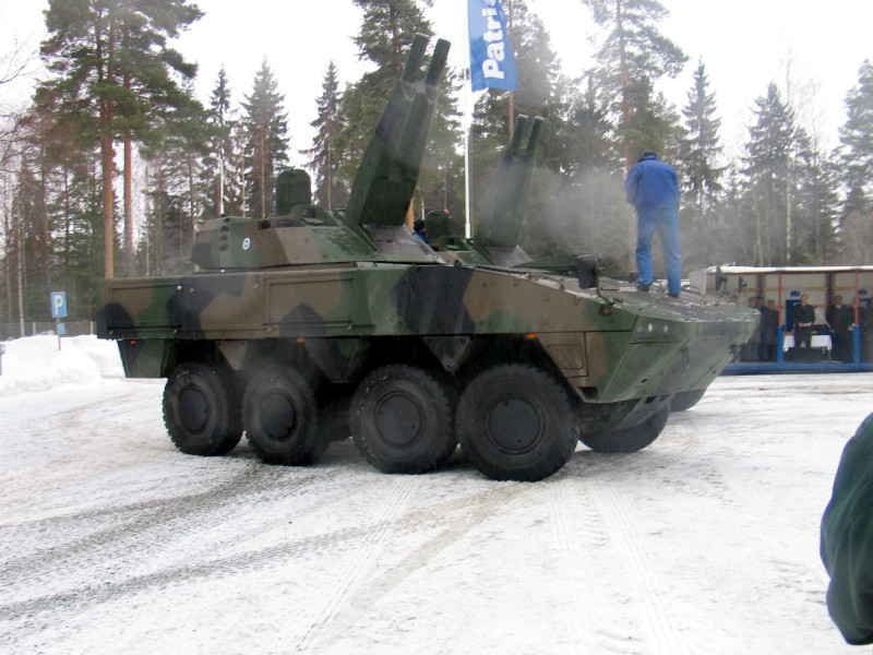 Patria showcased its advanced mortar system (AMOS) at its manufacturing plant in Vammala, Finland, on 28 March, 2006.
