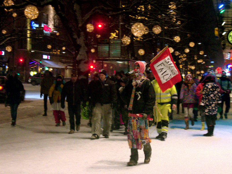 Loldiers of Odin, a group of activists dressed as clowns to parody the far-right vigilante patrol Soldiers of Odin, pranced around the streets of Tampere on 16 January 2016.