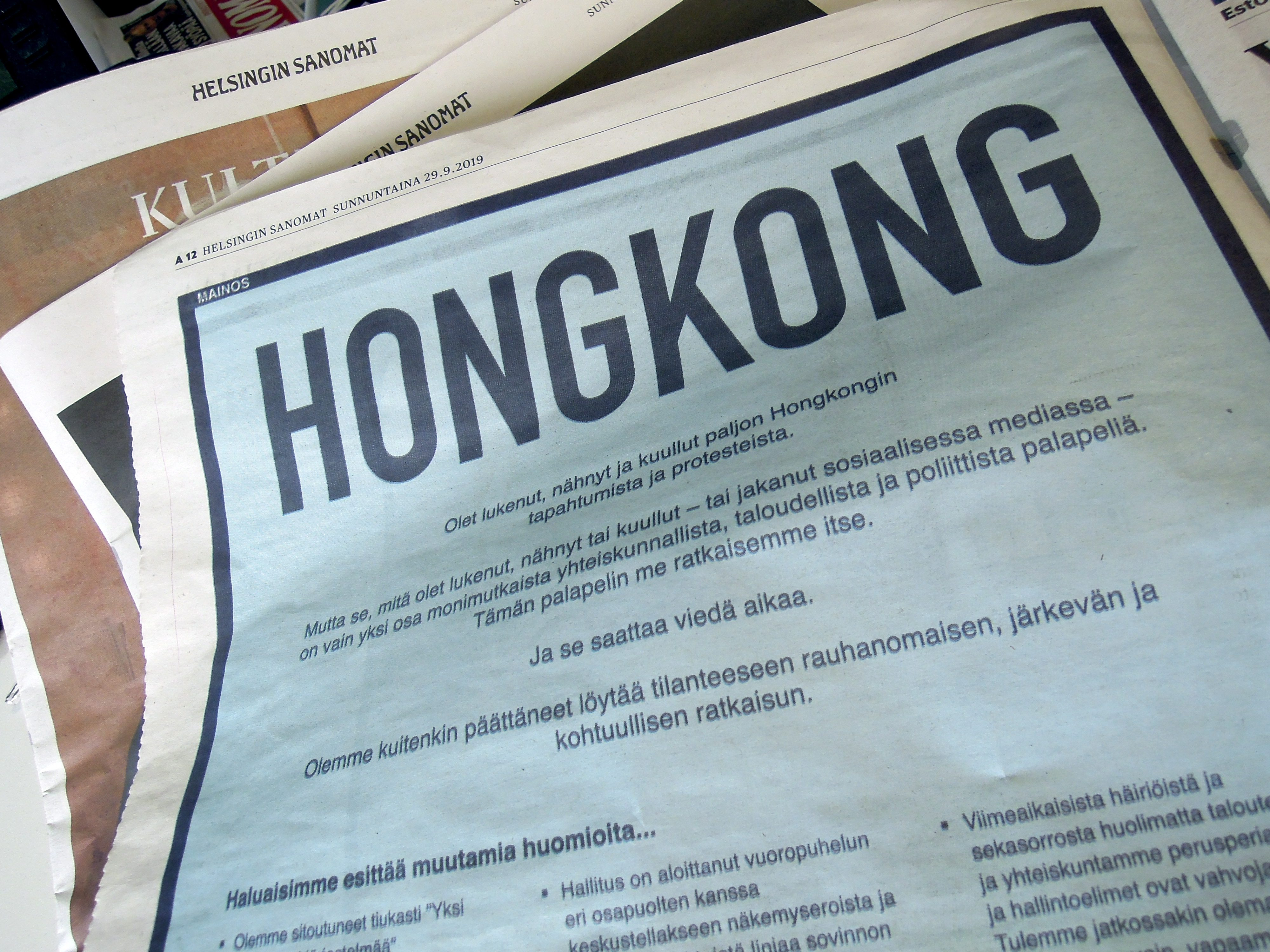 Helsingin Sanomat on Sunday published a full-page ad for the Hong Kong Special Administrative Region (SAR), allowing China to express its views on the situation in Hong Kong. (Ritva Siltalahti – Lehtikuva)