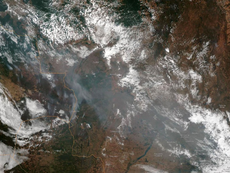 A satellite image dated 21 August 2019 shows several fires burning in the Brazilian states of Amazonas, Para, Mato Grosso and Rondonia. (Handout – NOAA/AFP/Lehtikuva)