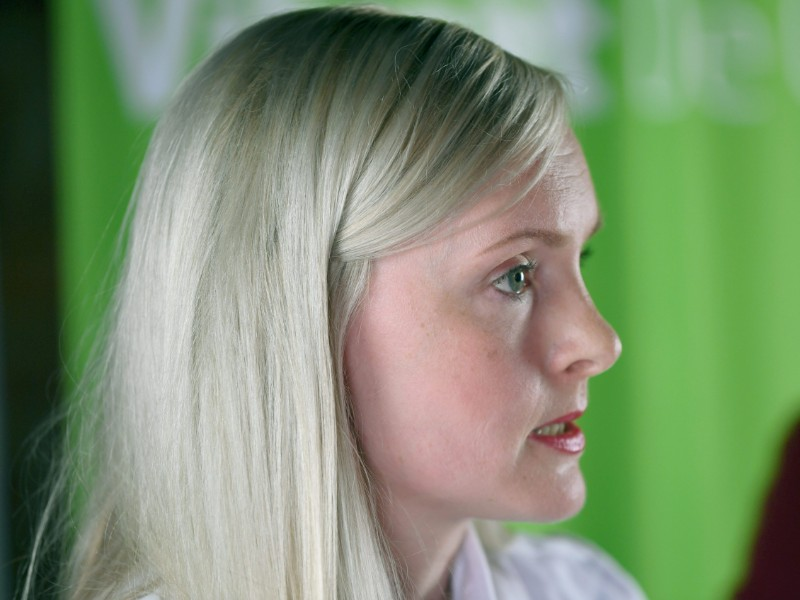 Minister of the Interior Maria Ohisalo (Greens) addressed the media in a press conference held in conjunction of a meeting of the Green League in Helsinki on 12 August 2019. (Antti Aimo-Koivisto – Lehtikuva)