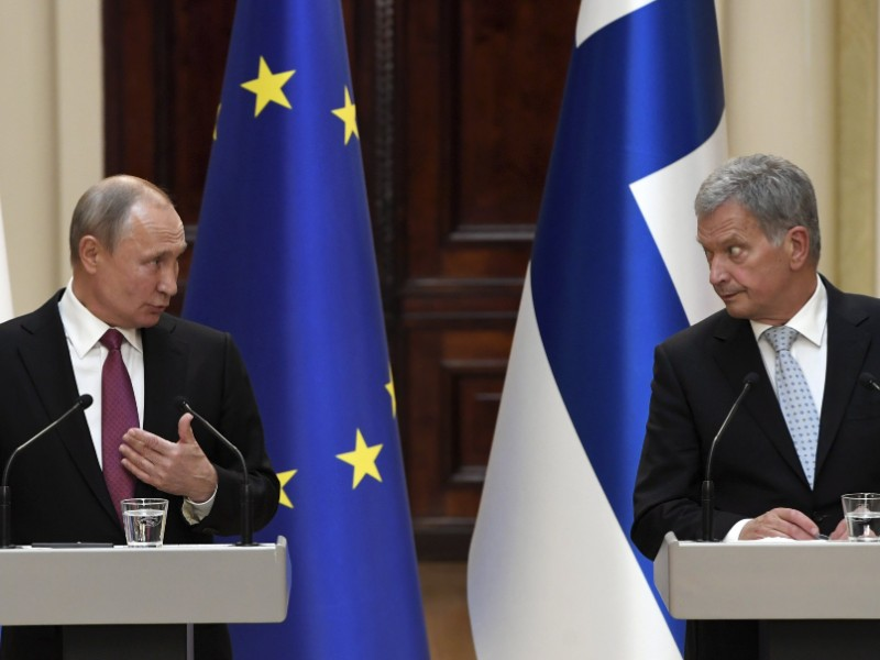 Finnish President Sauli Niinistö (right) and Russian President Vladimir Putin (left) held a joint press conference in the Presidential Palace in Helsinki on Wednesday, 21 August 2019. (Markku Ulander – Lehtikuva)
