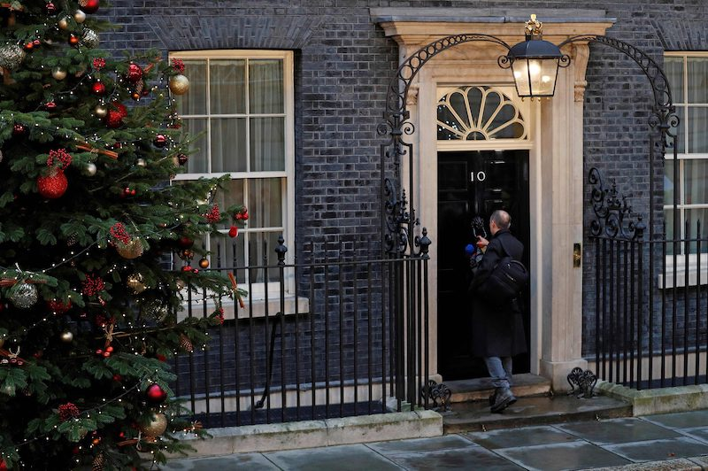 Former Vote Leave strategist and Boris Johnson's chief strategist Dominic Cummings enters 10 Downing Street this morning.