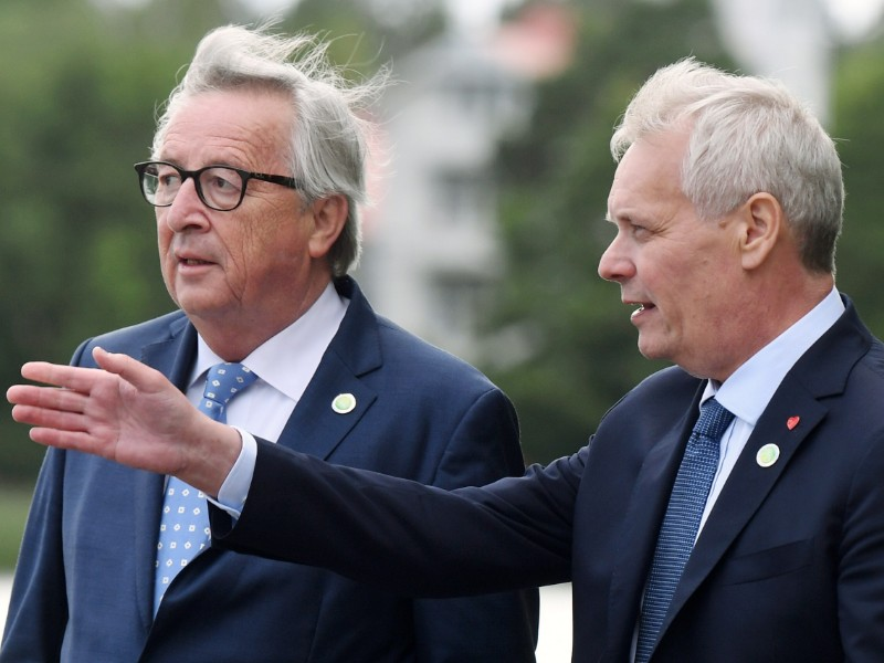 Jean-Claude Juncker (left), the outgoing president of the European Commission, and Antti Rinne, the Prime Minister of Finland, talked about the EU's future course in Helsinki on 4–5 July 2019. (Jussi Nukari – Lehtikuva)