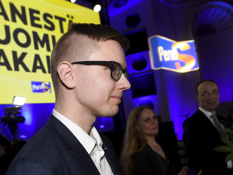 Asseri Kinnunen, the chairperson of the Finns Party Youth, states that the youth organisation will fight to keep its state aid. (Vesa Moilanen – Lehtikuva)