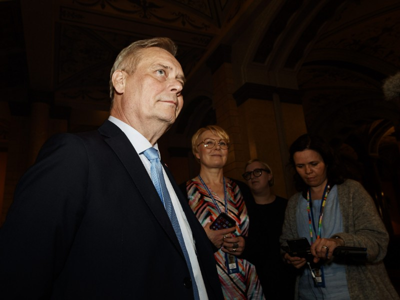 Antti Rinne, the chairperson of the Social Democrats, commented on the government formation process in the House of the Estates in Helsinki on Wednesday, 29 May. (Roni Rekomaa – Lehtikuva)