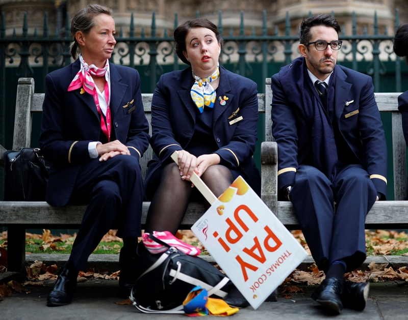 Disgruntled Thomas Cook employees protesting against their former employer in London today (Image: Lehtikuva)