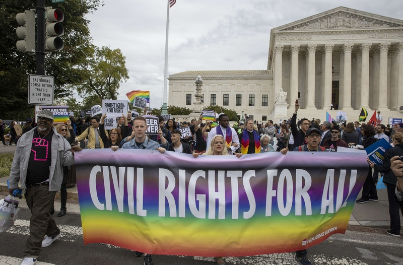 LGBT rights protestors outside the Supreme Court in Washington D.C. today (Image: Lehtikuva)