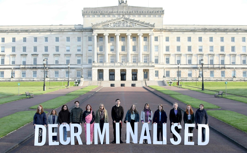 Activists outside Stormont, the seat of the Northern Ireland Assembly (Image_ Lehtikuva)