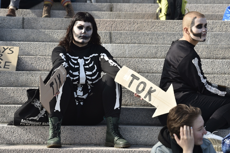 A protester on the steps of Parliament on Friday (Image: Lehtikuva)