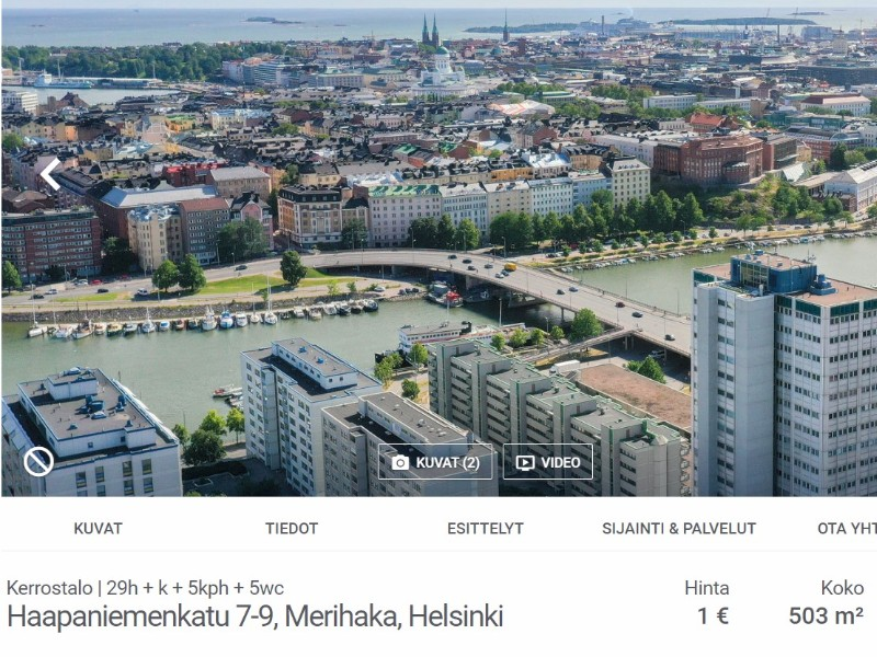 A screen capture of a one-euro listing of a 503-square-metre commercial property in Merihaka, Helsinki. (Screen capture – Etuovi.com)