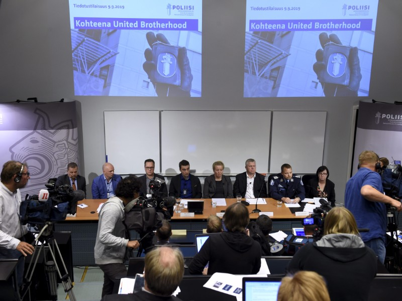 Senior officers at the National Bureau of Investigation shed light on a long-running effort to bring down United Brotherhood in Vantaa on Monday, 9 September 2019. (Emmi Korhonen – Lehtikuva)