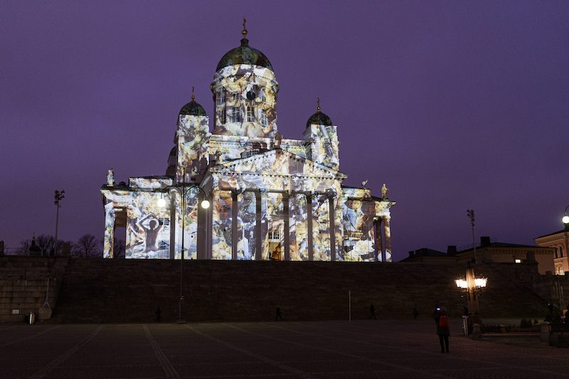 Helsinki Cathedral lit up this morning in preparation for the festival (Image: Lehtikuva)