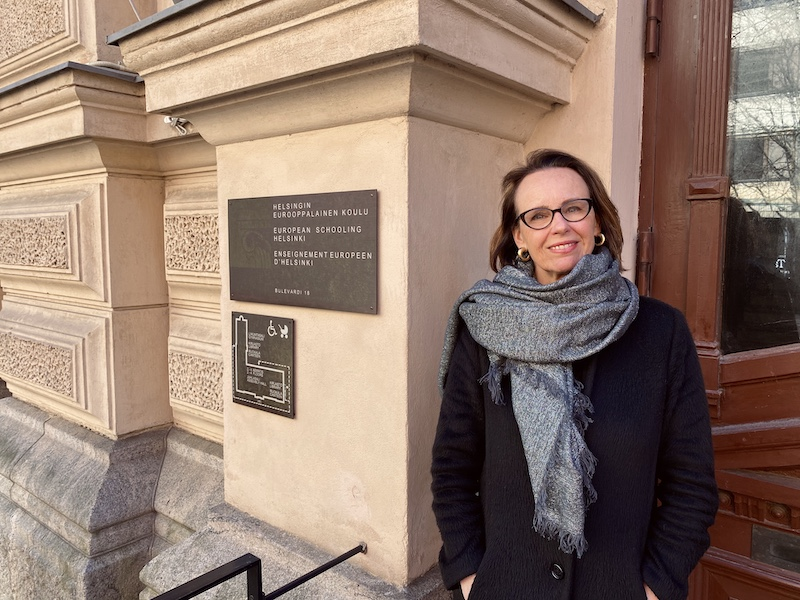 ESH activity coordinator Josette Wolters outside the school on Helsinki's Bulevardi (Image: ESH)