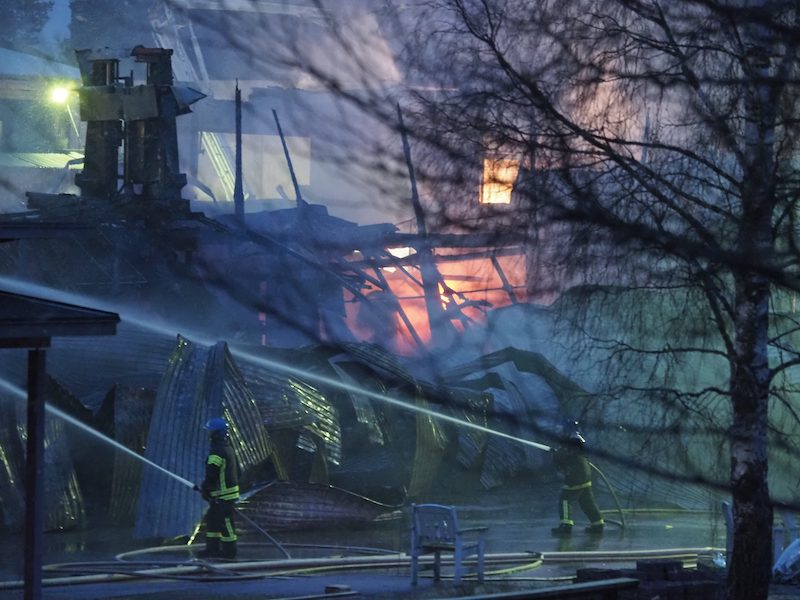 Firefighters tackle the blaze in the early hours of this morning (Image: Lehtikuva)