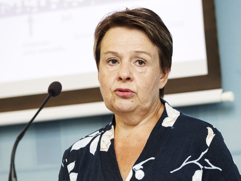 Kirsi Varhila, the permanent secretary at the Ministry of Social Affairs and Health, reacted at a news conference in Helsinki on Thursday, 6 August 2020. (Roni Rekomaa – Lehtikuva)