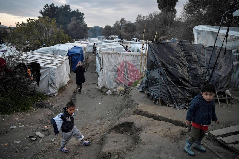 Child asylum seekers roam a makeshift camp on the Greek island of Chios (Image: Lehtikuva)