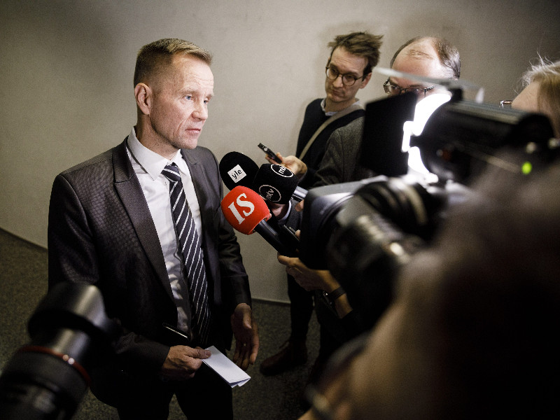 Mika Niikko (PS), a third-term MP from Uusimaa, spoke to reporters after a meeting of the Parliament's Foreign Affairs Committee in Helsinki on 3 December 2019. (Seppo Samuli – Lehtikuva)