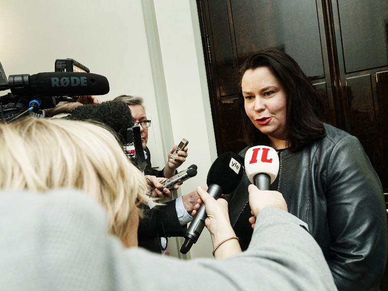Johanna Ojala-Niemelä (SDP), the chairperson of the Parliament's Constitutional Law Committee, talked to reporters in Helsinki on Wednesday, 19 February 2020. (Roni Rekomaa – Lehtikuva)