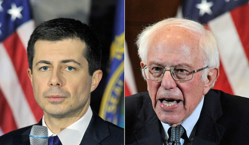 Democratic Presidential Nominees Pete Buttigieg and Bernie Sanders respond to supporters in the wake of the Iowa Caucus (Image: Lehtikuva)